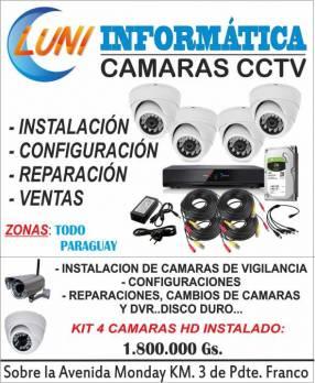 Kit 4 cámaras de seguridad hd instalado y configurado