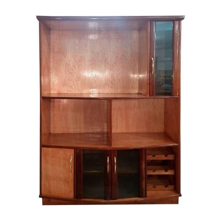 Estante modular de 140 cm para TV con cristalera de madera - 0