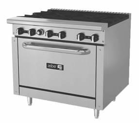 Asber cocina de 6 fuegos con horno a gas