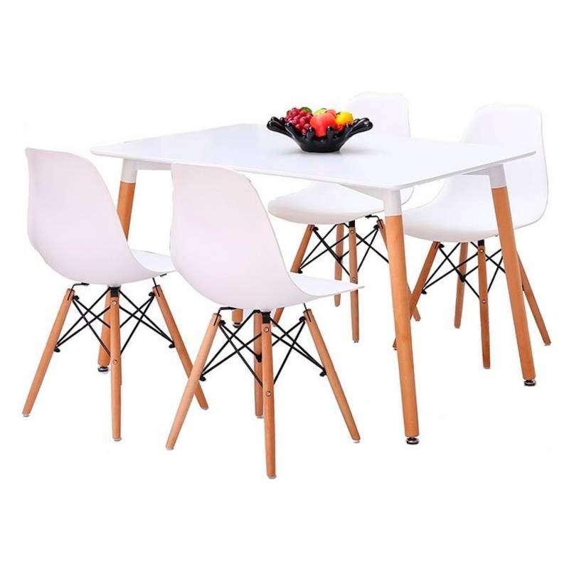 Juego de comedor rectangular Eames y 4 sillas - 2