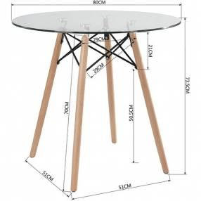 Mesa Eames redonda base de madera tapa de vidrio 80cm