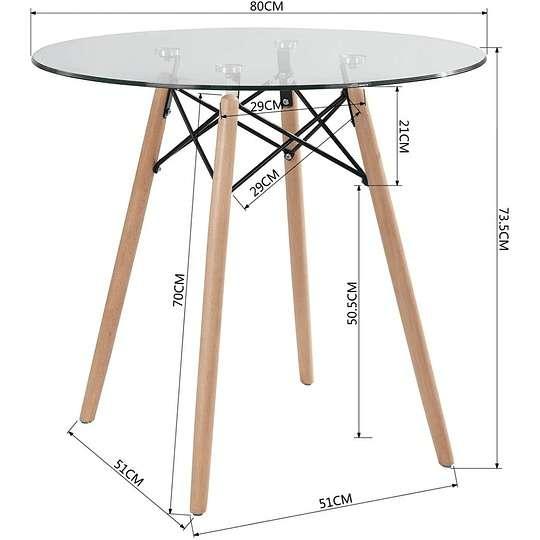 Mesa Eames redonda base de madera tapa de vidrio 80cm - 0