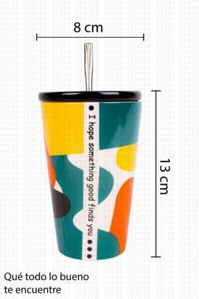 Vaso de Porcelana con Bombilla