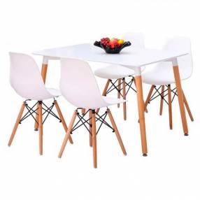 Juego de comedor rectangular Eames + 4 sillas