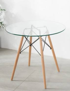 Mesa de vidrio redonda base de madera Eames 80cm