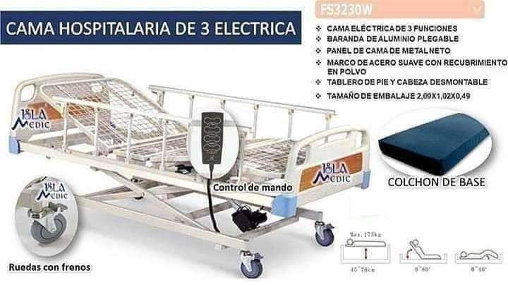Camilla articulable de 3 posiciones eléctrica con colchón de base - 0