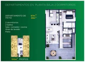 Departamento 2 dormitorios planta baja con patio 100 m2