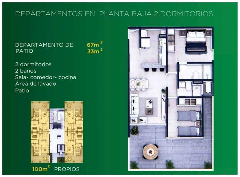 Departamento 2 dormitorios planta baja con patio 100 m2 - 0