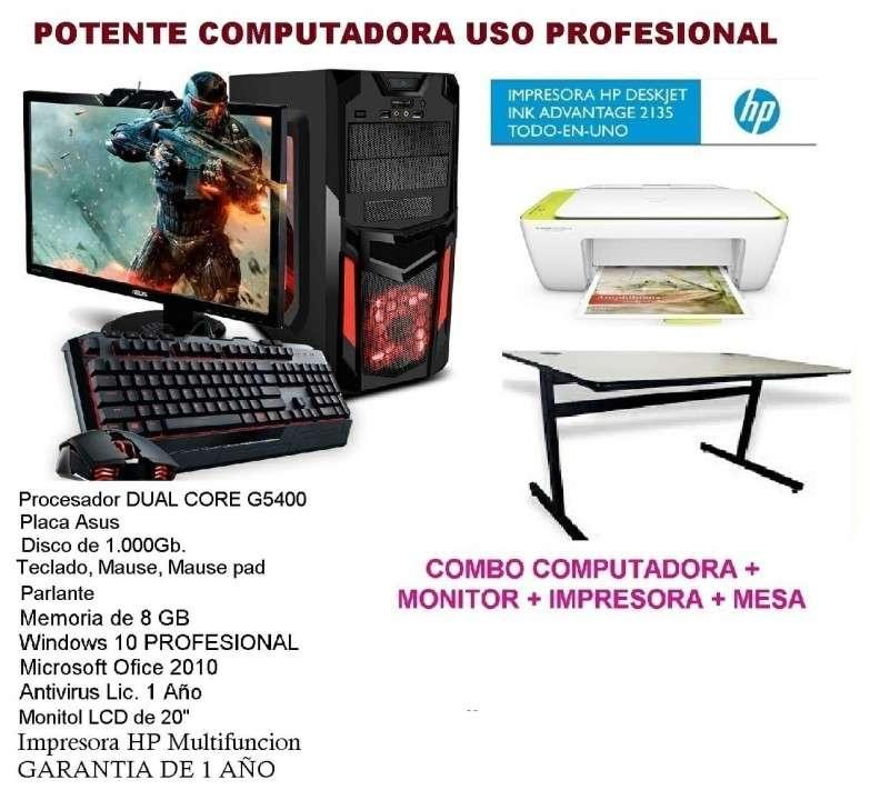 Computadora con monitor impresora y mesa - 0