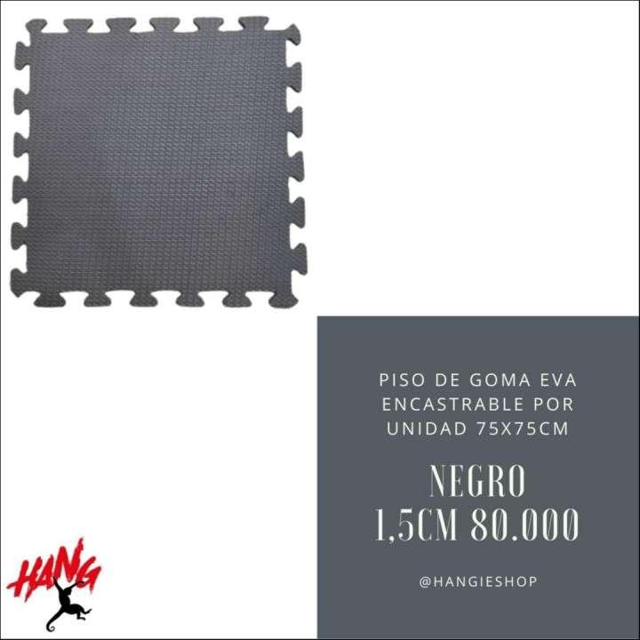Piso encastrable de goma eva espesor 1,5 cm 75x75 cm negro - 1