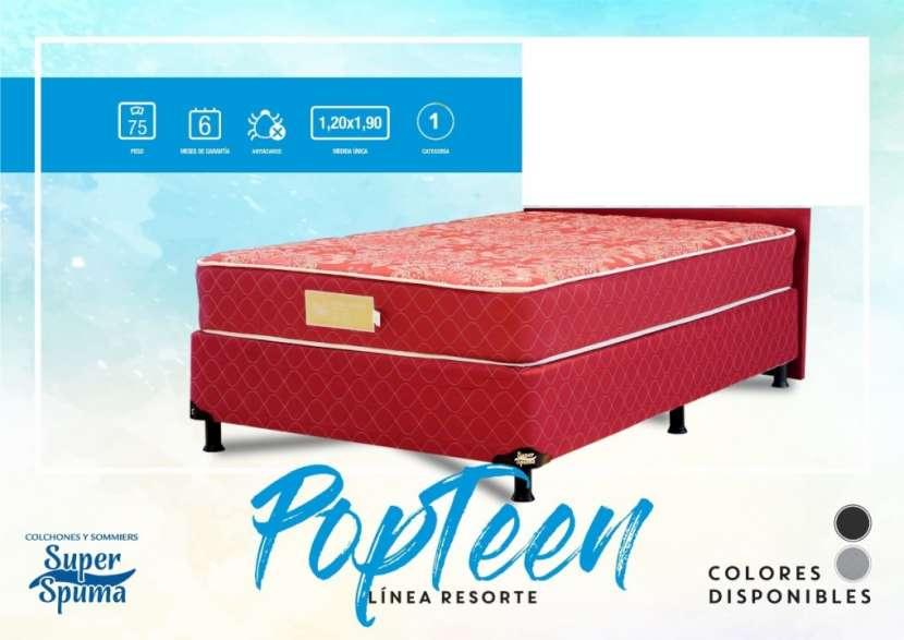 Base más colchón Super Spuma Pop Teen soporta 75 Kg 120x190 - 1