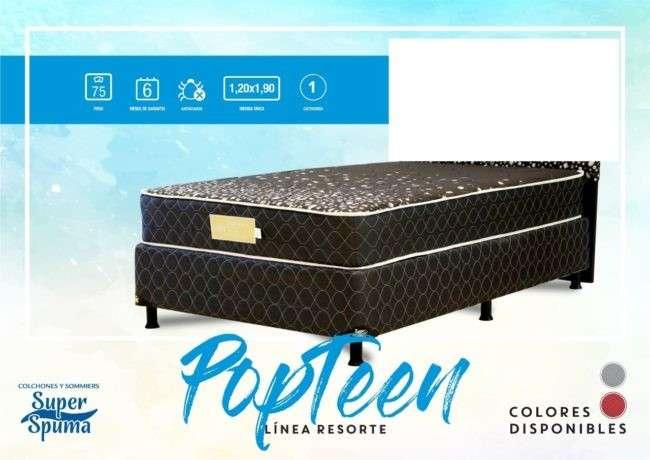 Base más colchón Super Spuma Pop Teen soporta 75 Kg 120x190 - 0
