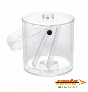 Cubo para hielo acrílico transparente con asa, tapa y pinzas