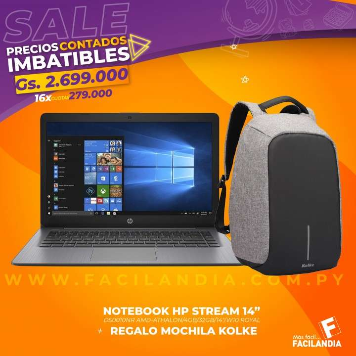 Notebook HP 14 pulgadas y mochila Kolke