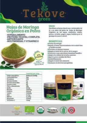 Moringa orgánica en polvo Tekove Green