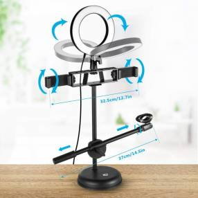 Aro LED con soporte para celular y micrófono