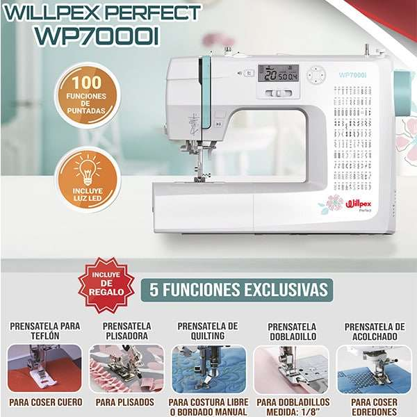 Máquina de Coser Familiar Willpex Perfect WP7000I - 0