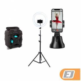 Aro de luz Selfie + Parlante KPB446 + Soporte de Selfie 360°