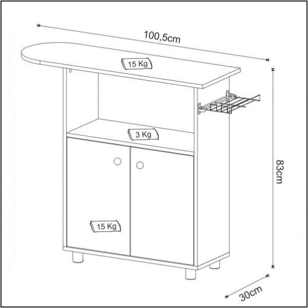 Mesa de planchar TP3040 rústico Altezza - 1