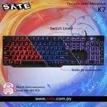 Teclado Satellite K7 gamer semi mecánico español - 0
