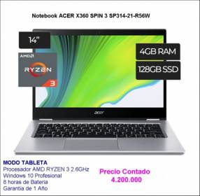 Notebook Acer X360 Spin 3