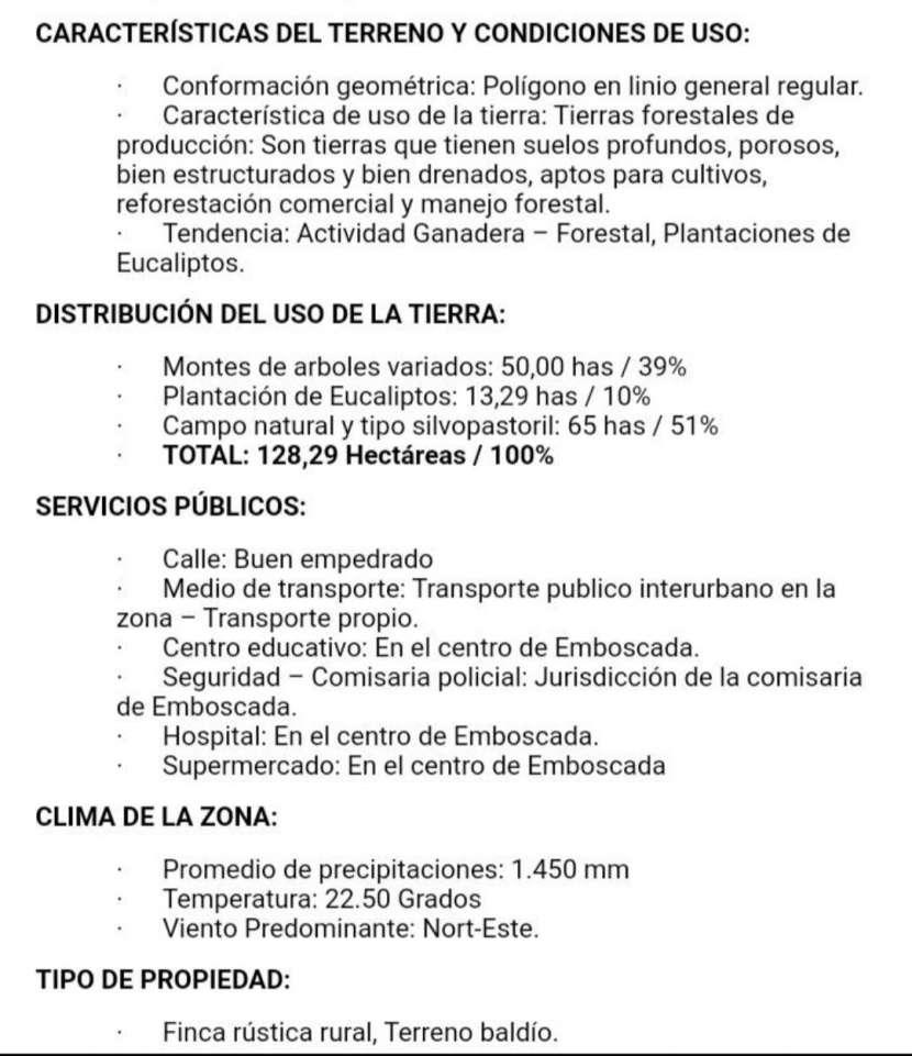 Campo 128 hectáreas en Emboscada - 2