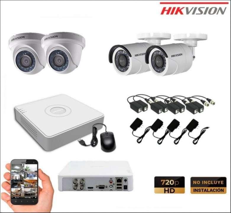 Kit 4 cámaras + alarma GSM todo instalada - 1