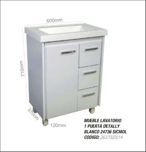Mueble para baño lavatorio 1 puerta 3 cajones - 1