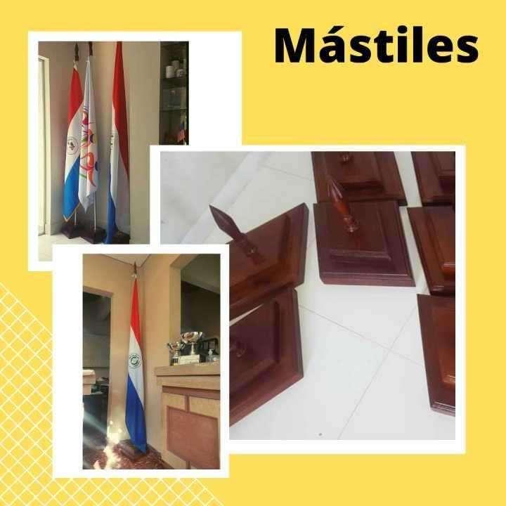 Mástiles para bandera base de madera lustrada con varilla - 0