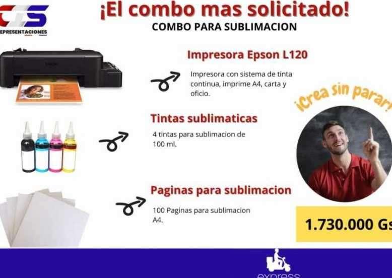 Combo para sublimar Impresora Epson L120 + Tintas + Papel - 0