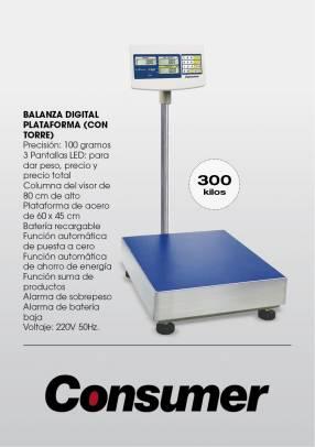 Balanza digital consumer con plataforma y torre 300 kg lcd