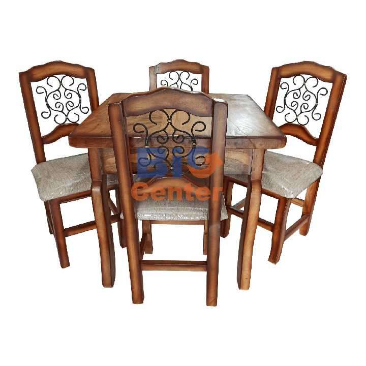 Juego de comedor rústico con 4 sillas tapizadas (3335) - 0