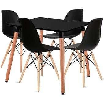 Juego de mesa Eames 80x80 + 4 sillas - 0