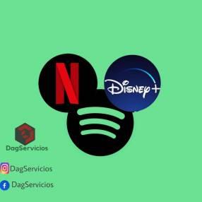 Netflix Disney Spotify y Amazon Prime Video