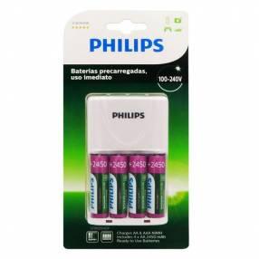 Cargador de pilas recargables c/ 4 pilas aa 2450 mah philips