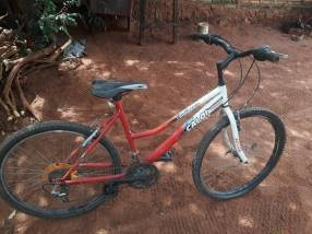 Bicicleta Caloi roja y blanca