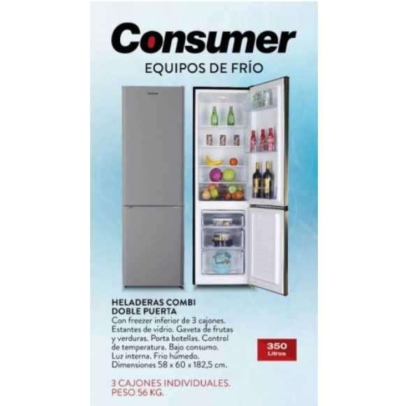 Heladera freezer Combi Consumer 350 litros doble puerta frío húmedo negro - 0