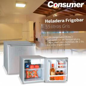 Heladera frigobar consumer 55 litros gris
