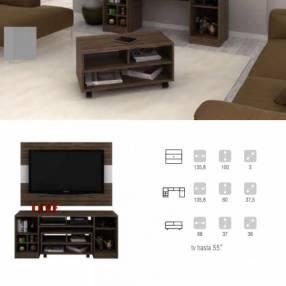 Panel+ rack+mesa centro c/ruedas tv 55