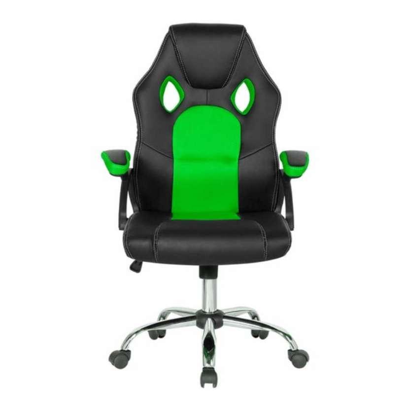 Silla gamer tela mesh negro con verde 10080 - 0