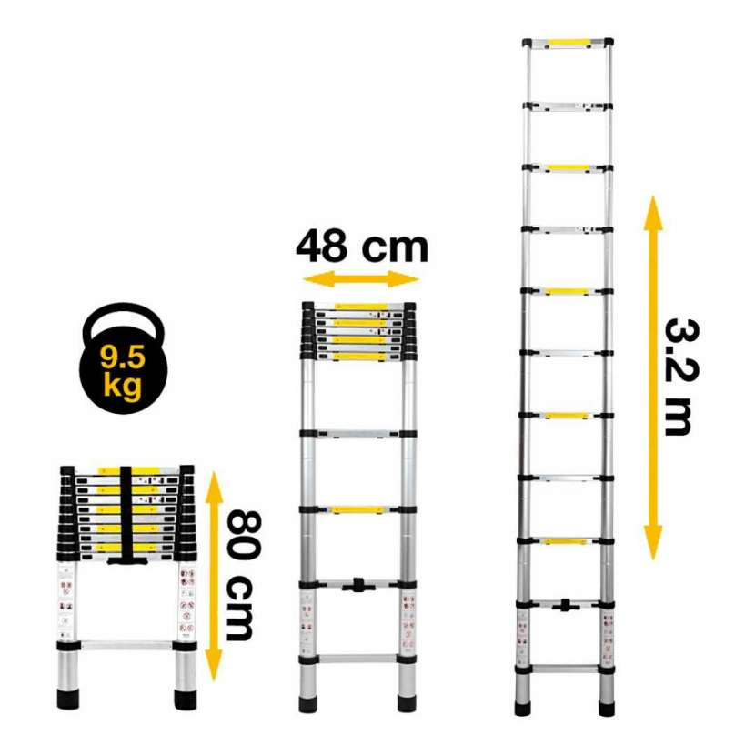 Escalera telescópica 3.2 metros consumer (20078) - 0