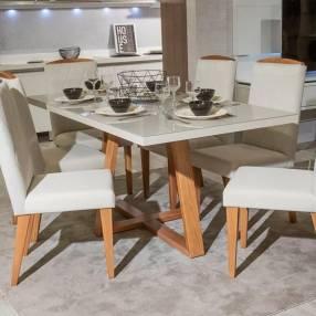 Juego comedor 6 sillas madera y vidrio temprado Mara / Daysi