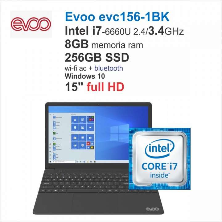 Notebook Evoo EVC156-1BL i7-6600/8gb/256ssd/Win10