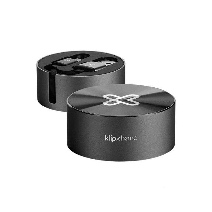 Cable KLIP USB-A A USB-C KAC-110BK 2.1A/ 1M negro retráctil - 0