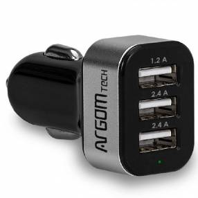 Cargador ARG-AC-0113BK 3P USB P/ Auto