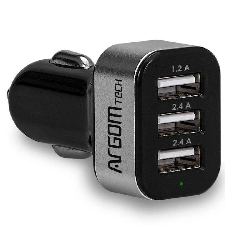 Cargador ARG-AC-0113BK 3P USB P/ Auto - 0