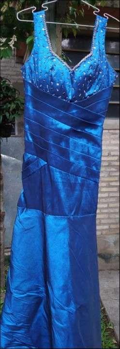 Vestido largo azul de fiesta - 1