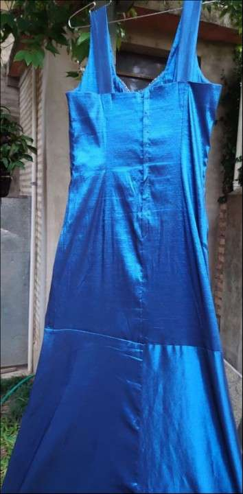 Vestido largo azul de fiesta - 2