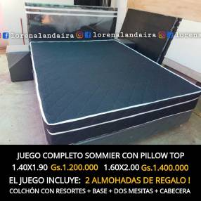 Sommier con pillow top negro