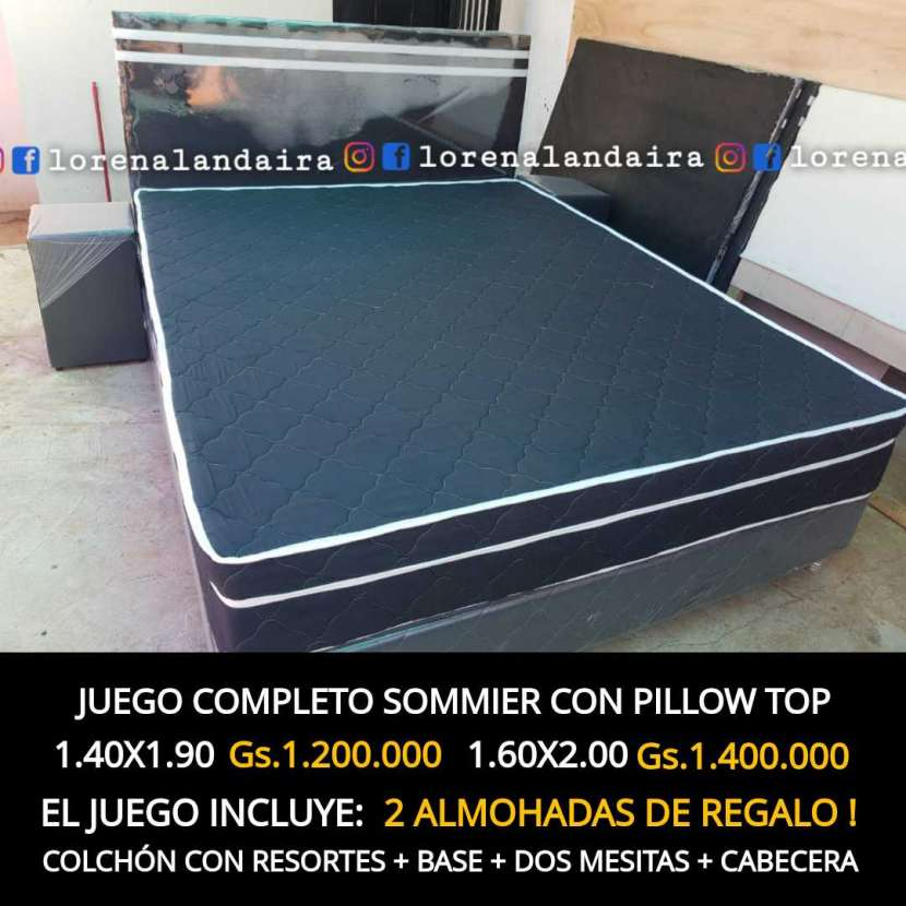 Sommier con pillow top negro - 0